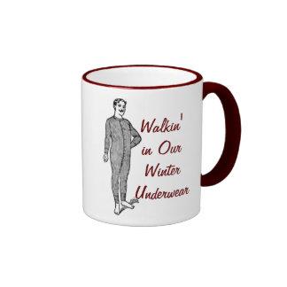 Walkin' in Our Winter Underwear Ringer Coffee Mug