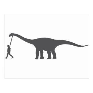 walking a dinosaur pet like a dog walking postcard