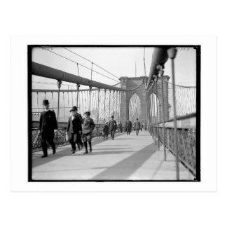 Walking Across the Brooklyn Bridge, NY Vintage Postcard