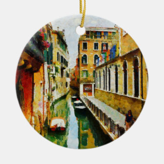 Walking along the canal ceramic ornament