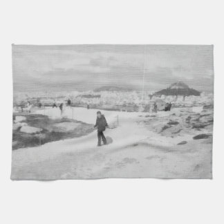 Walking among snow and ice kitchen towels