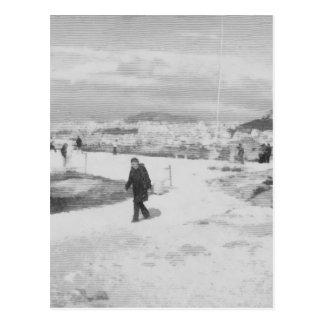 Walking among snow and ice postcard