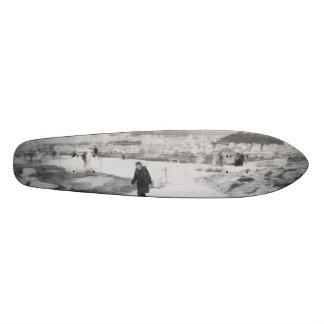 Walking among snow and ice skateboard