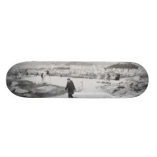 Walking among snow and ice skateboard deck