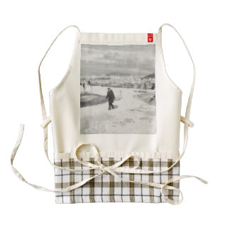 Walking among snow and ice zazzle HEART apron