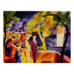 Walking at the lake by August Macke Posters