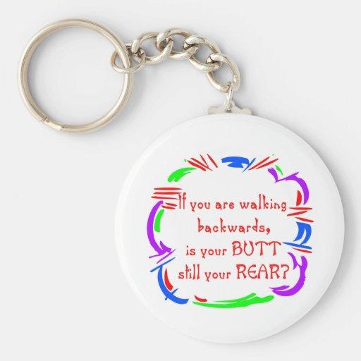 Walking Backward Keychain