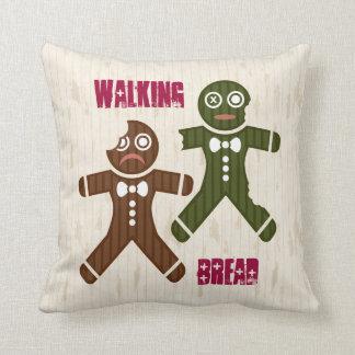 Walking Bread Throw Pillow