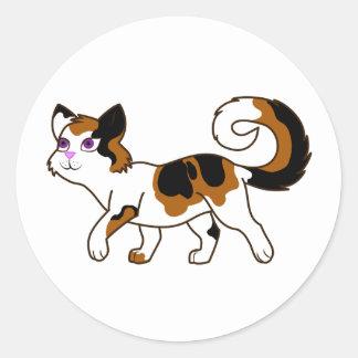 Walking Calico Cat Classic Round Sticker