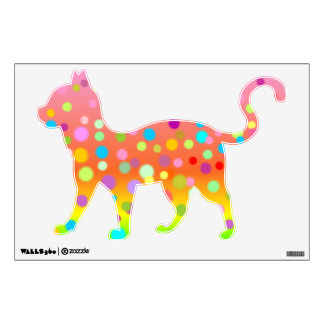 Walking Cat A1 with Colorful Dots 1 Wall Graphic