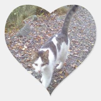 Walking Cat Heart Sticker