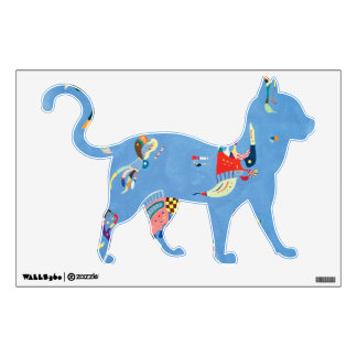Walking Cat in Sky Blue Wall Sticker