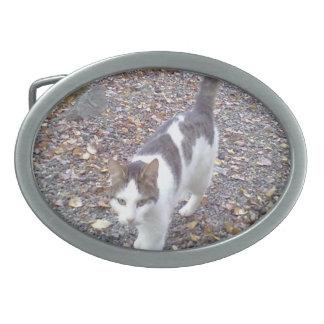 Walking cat oval belt buckle