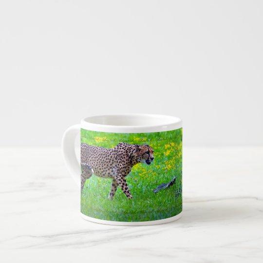Walking Cheetah Big Cat Espresso Coffee Mug