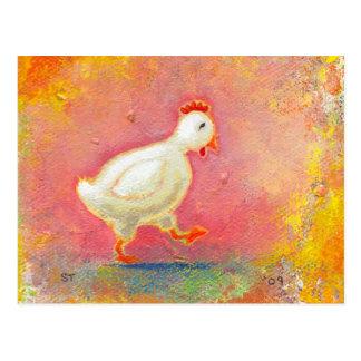 Walking chicken needs solitude - original art postcard