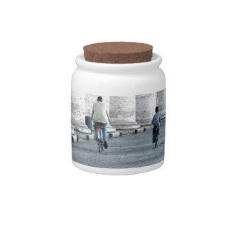 walking cycling candy jars