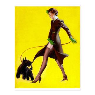 Walking Dog Pin Up Postcard