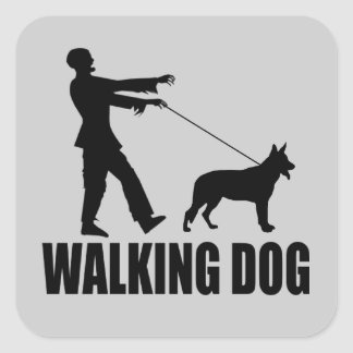 Walking Dog (zombies) Square Sticker