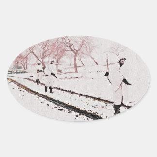 Walking Down Bastogne Road Oval Sticker
