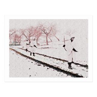 Walking Down Bastogne Road Postcard