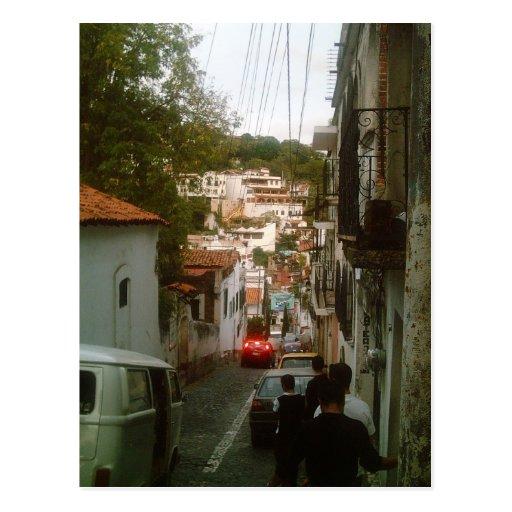 Walking down the mountain side in Taxco Postcard