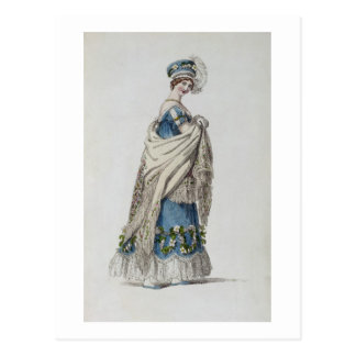 Walking dress, fashion plate from Ackermann's Repo Postcard