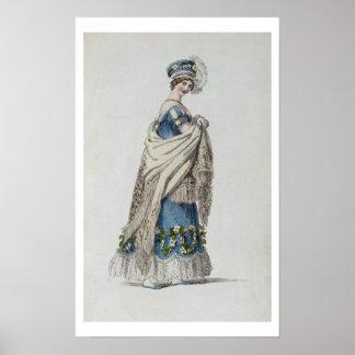 Walking dress, fashion plate from Ackermann's Repo Poster