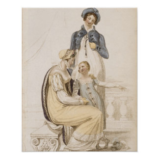Walking Dresses, fashion plate from Ackermann's Re Poster