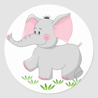 Walking elephant for children classic round sticker