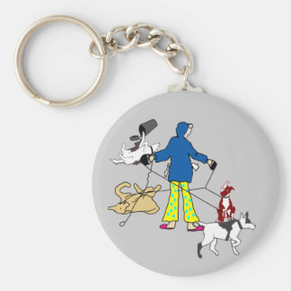 Walking Flyball Dogs Keychain