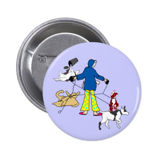 Walking Flyball Dogs Pinback Button