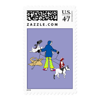 Walking Flyball Dogs Postage