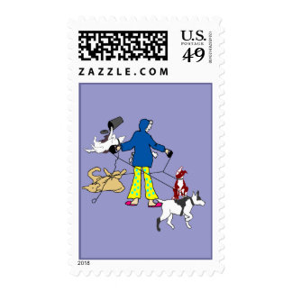 Walking Flyball Dogs Postage Stamps