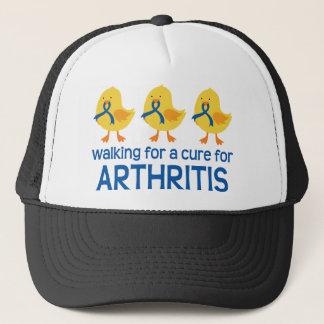 Walking For A Cure Arthritis Blue Ribbon Trucker Hat