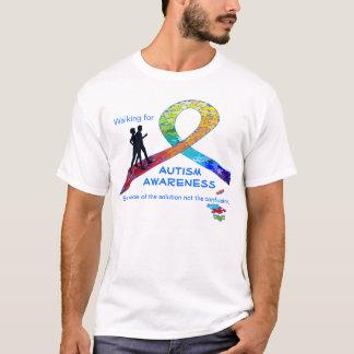 Walking for Autism Awareness Rainbow Ribbon Design T-Shirt