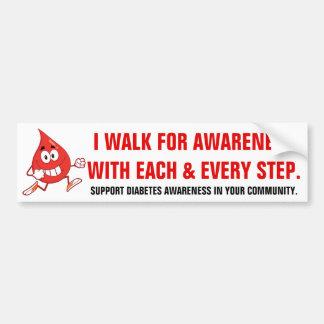 Walking for Diabetes Awareness Bumper Sticker