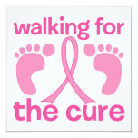 Walking For The Cure 5.25x5.25 Square Paper Invitation Card