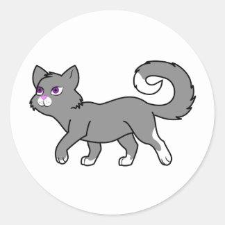 Walking Gray Cat Classic Round Sticker