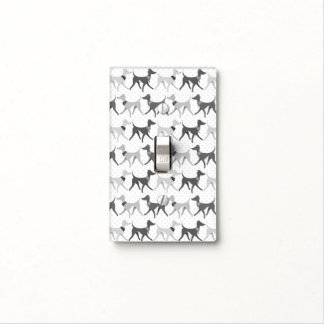 Walking Greyhounds black and white Light Switch Cover