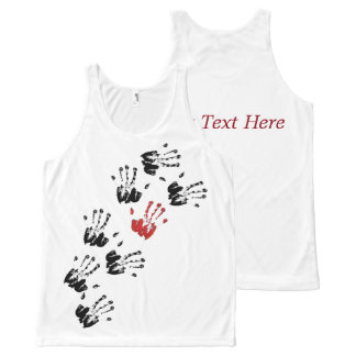 Walking Handprints in Black & Red - T-Shirt All-Over Print Tank Top