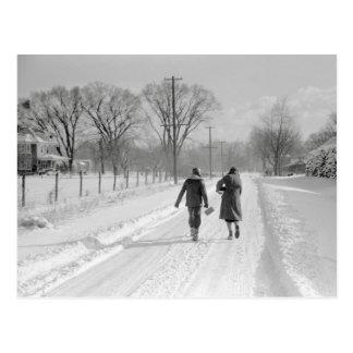 Walking Home From School, 1940 Postcard