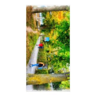 Walking in autumn card