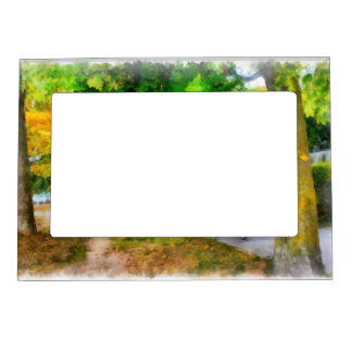 Walking in autumn magnetic photo frame