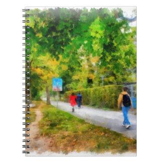 Walking in autumn spiral notebook