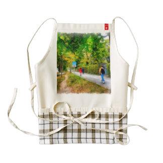 Walking in autumn zazzle HEART apron
