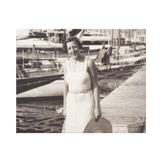 Walking in Cannes, old photography 1930s canvas