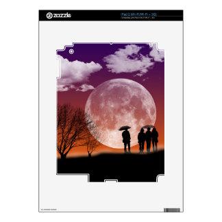 Walking in front of the moon Digital Art iPad 2 Skins