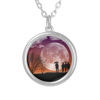 Walking in front of the moon Digital Art Silver Plated Necklace