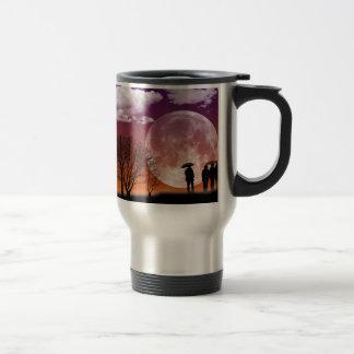 Walking in front of the moon Digital Art Travel Mug