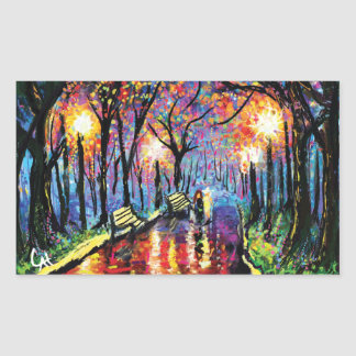 Walking in the Colorful Park Rectangular Sticker